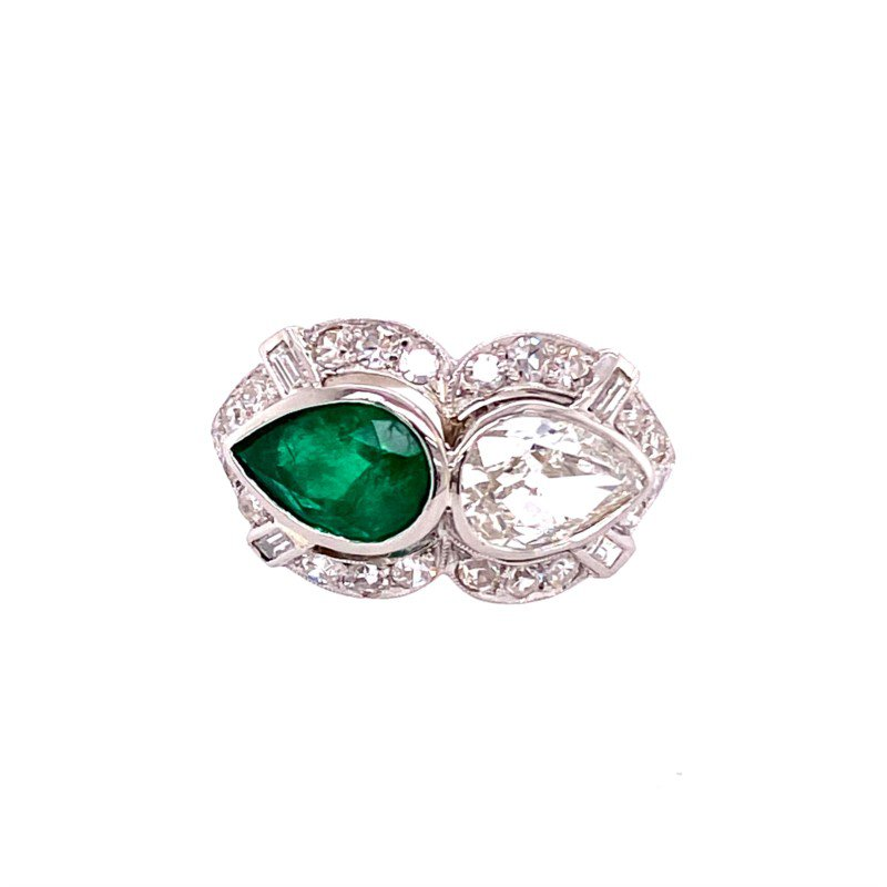 Perry's Estate Collection Vintage Diamond and Emerald Ring in Platinum Circa 1920s