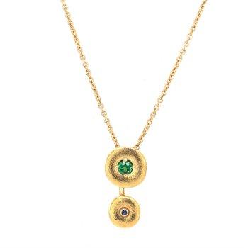 Tsavorite Garnet and Sapphire Designer Pendant in 18k Gold