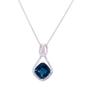 London Blue Topaz Pendant in White Gold