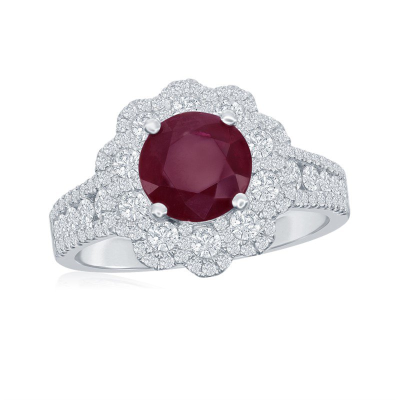 Jewels By Jacob Ruby and Diamond Ring in 18k White Gold