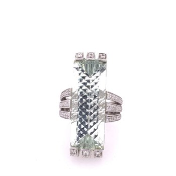 Prasiolite and Diamond Ring in White Gold