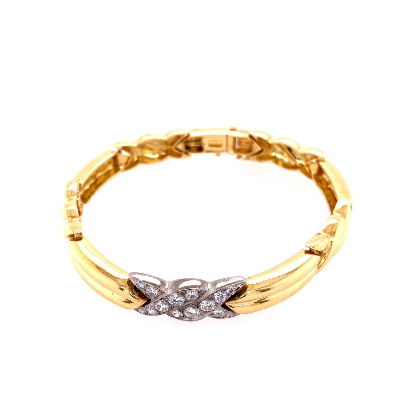 Perry's Estate Collection Tiffany & Co. Platinum and 18k Yellow Gold Diamond Bracelet