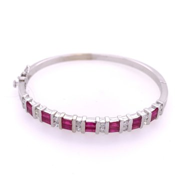 Ruby and Diamond Bangle Bracelet in White Gold