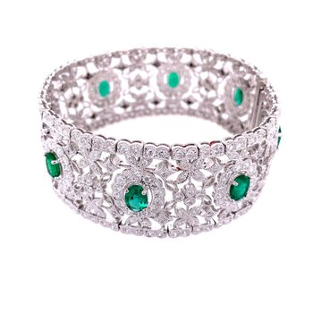 Beautiful Wide Emerald and Diamond Bracelet in 18k White Gold