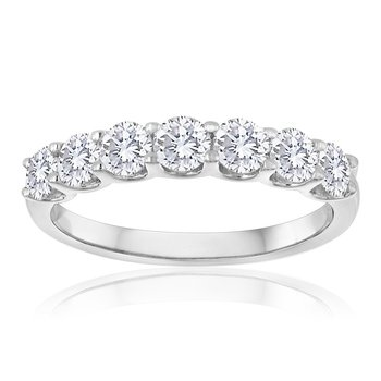 Seven Diamond Wedding Band in White Gold