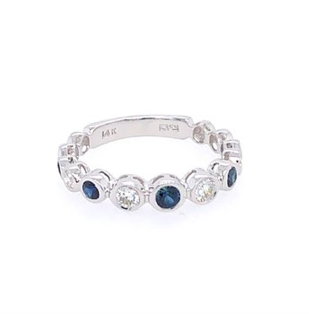 Sapphire and Diamond Band in White Gold