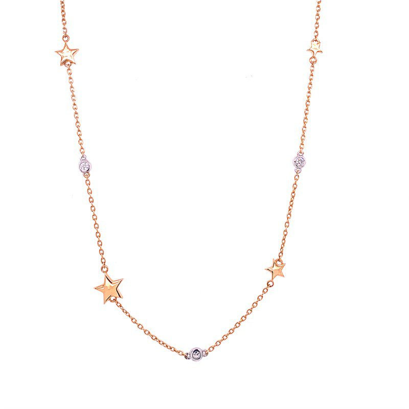 """Effy 22"""" Star and Diamond Necklace in Rose Gold"""