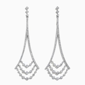 Diamond Chandalier Earrings in White GOld