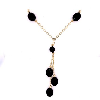 "17"" Onyx Necklace in Yellow Gold"