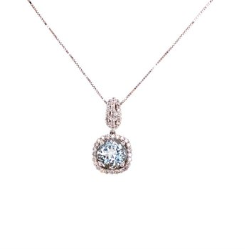 Aquamarine and Diamond Pendant in White Gold
