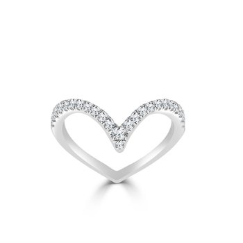 Curved Diamond Band in White Gold