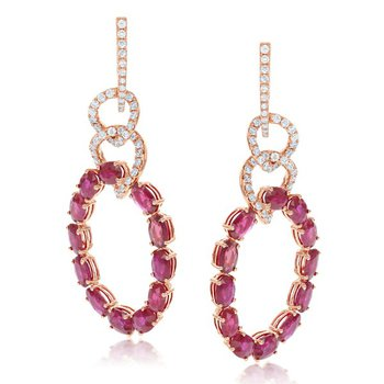 Ruby and Diamond Drop Earrings in Rose Gold
