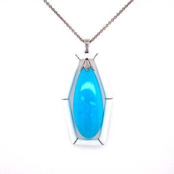 Turquoise and White Enamel Pendant Necklace in White Gold and Platinum