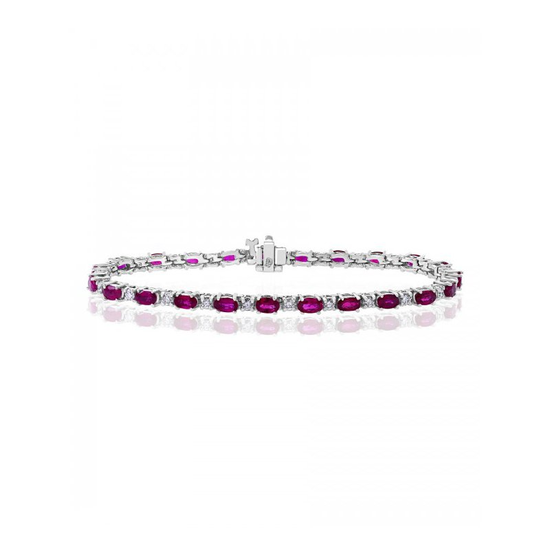 Jewels By Jacob Ruby and Diamond Bracelet in White Gold