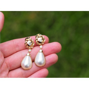 Mabe Pearl and Diamond Earrings in Yellow Gold
