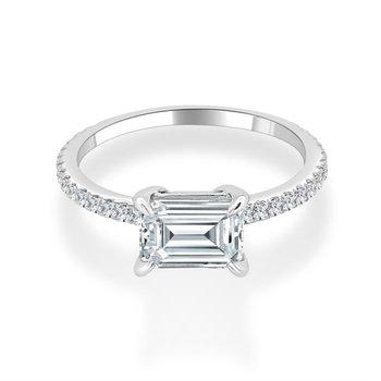 White Gold Semi Mount for Emerald Cut Diamond