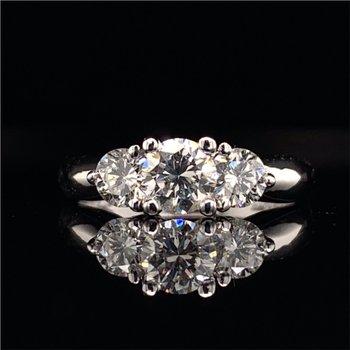 Three Across Diamond Engagement Ring in White Gold