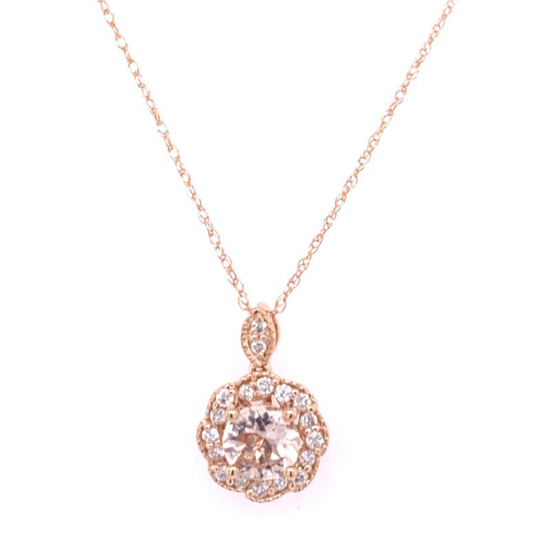 Royal Jewelry Morganite and Diamond Pendant in Rose Gold
