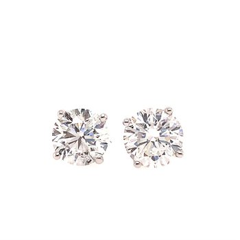 GIA 2.23 CTW. Diamond Stud Earrings in White Gold