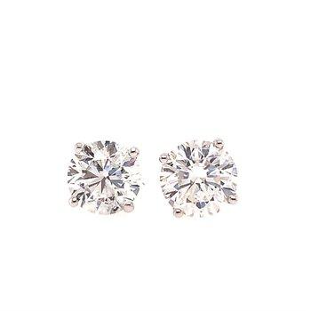 GIA 2.23 CTW. Diamond Stud Earrings in White Gold