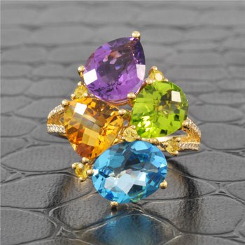 Multi-Gemstone Freeform Ring in Yellow Gold