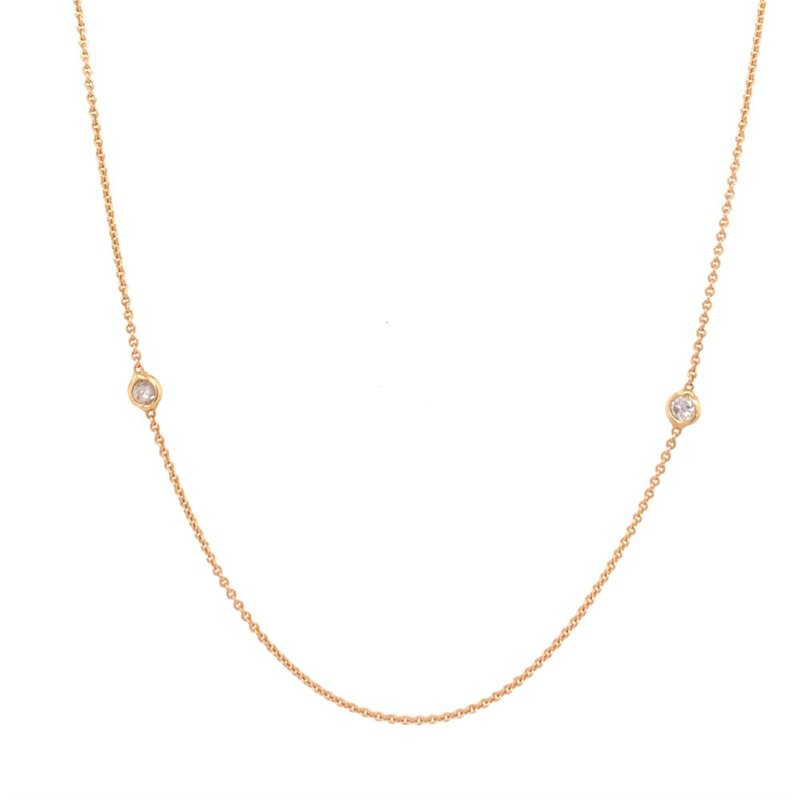 Jewel Couture Fine Gold Diamond Station Necklace in 18k Gold