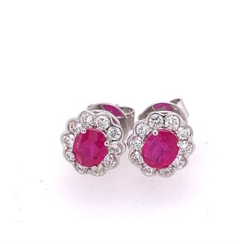 Ruby and Diamond Stud Earrings in White Gold