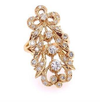 Ornate Lacy Diamond Ring in Yellow Gold