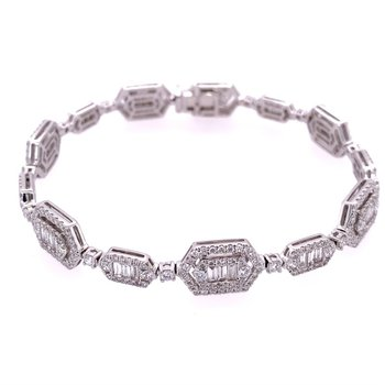Geometric Link Diamond Bracelet in 18k White Gold
