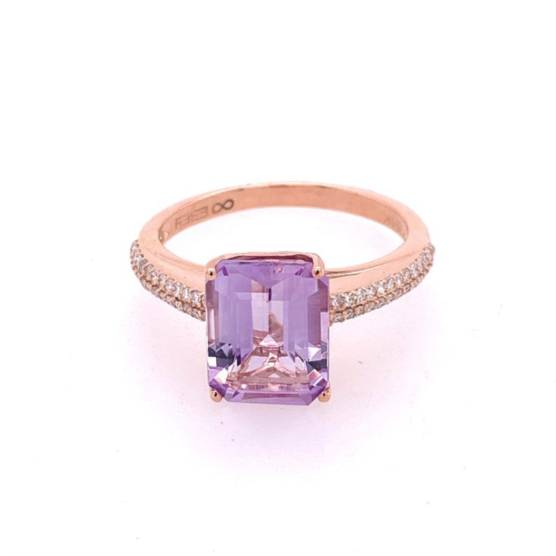 Effy Amethyst and Diamond Ring in Rose Gold