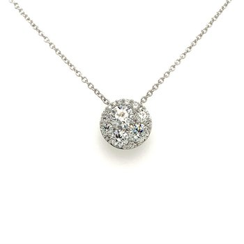 Diamond Cluster Pendant Necklace in White Gold