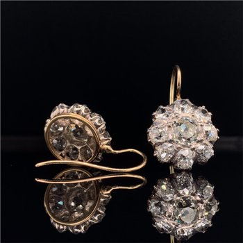Victorian Old Mine Cut Diamond Cluster Earrings 4.30 Carats Total