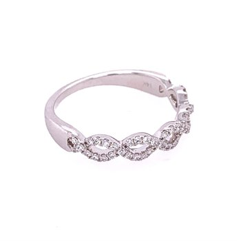 Criss-Cross Diamond Band in White Gold