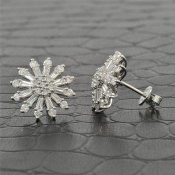 Diamond Starburst Earrings in White Gold