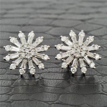 Diamond Starburst Earrings in White Gold