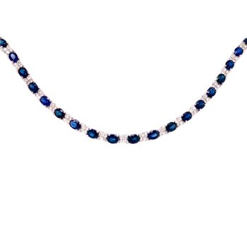 Sapphire and Diamond Bracelet in White Gold