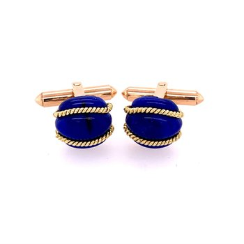 Lapis Cuff Links in Yellow Gold