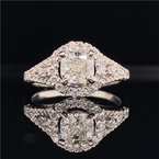 Perry's Estate Collection 0.91 Carat Cushion Cut Diamond Halo Engagement Ring in White Gold