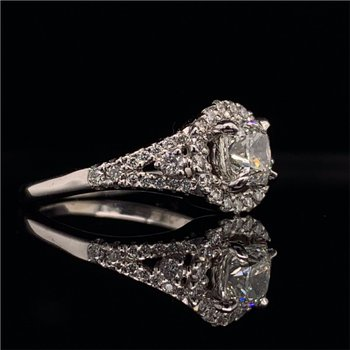0.91 Carat Cushion Cut Diamond Halo Engagement Ring in White Gold