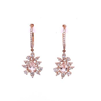 Morganite and Diamond Dangle Earrings in Rose Gold