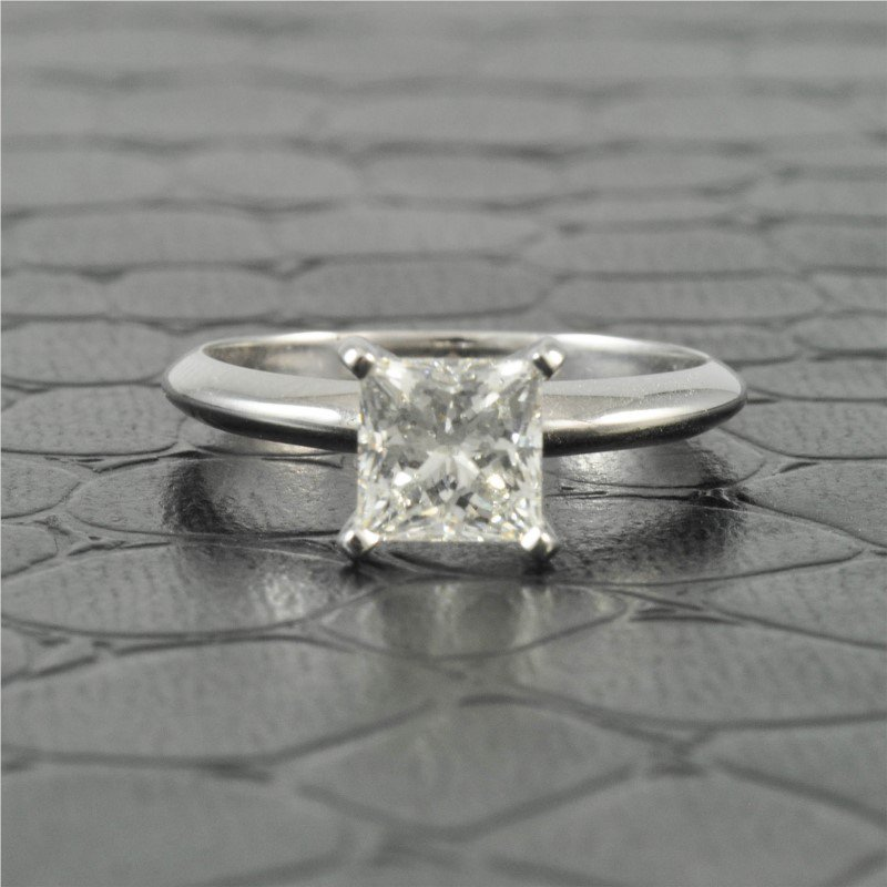 Perry's Estate Collection GIA 1.06 Carat E-VS2 Princess Cut Diamond Engagement Ring