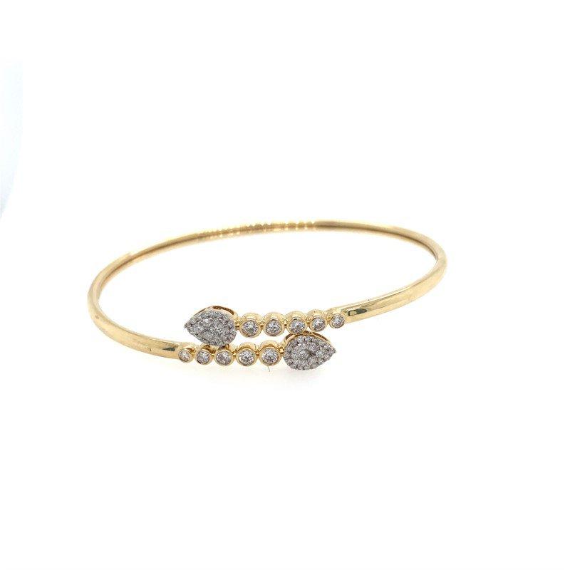 Royal Jewelry 14K Yellow Gold Flexible Diamond Bangle Bracelet