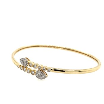 14K Yellow Gold Flexible Diamond Bangle Bracelet