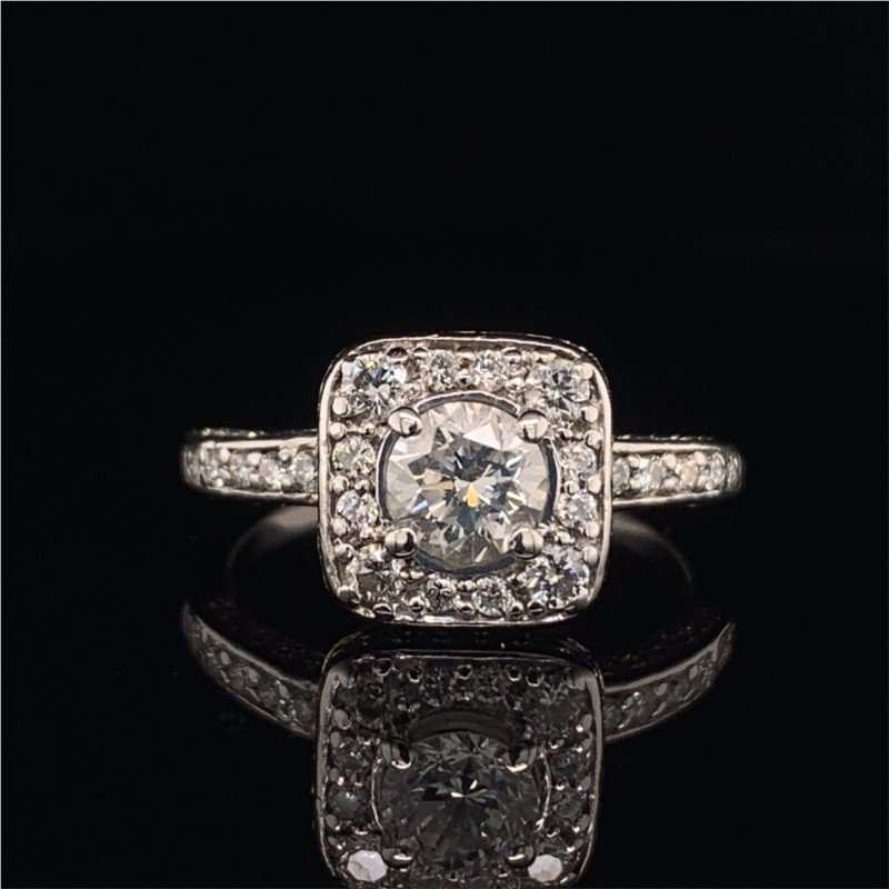 Perry's Estate Collection Round Brilliant Cut Diamond Halo Engagement Ring in White Gold