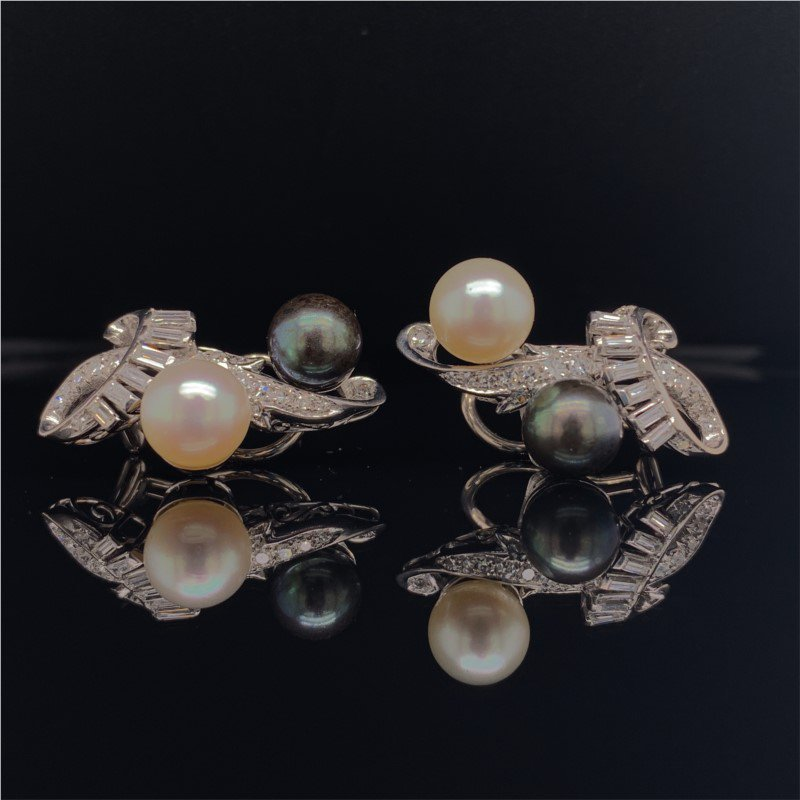 Perry's Estate Collection Black & White Akoya Pearl and Diamond Clip On Earrings