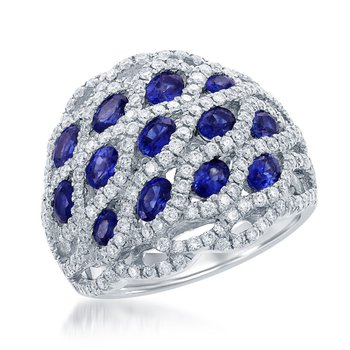 Domed Sapphire and Diamond Band Ring