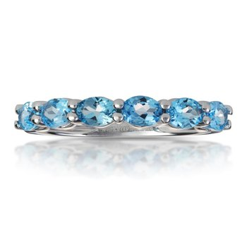Blue Topaz Band in White Gold