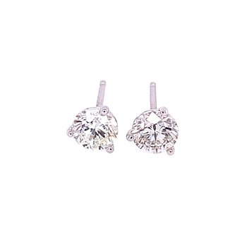 1.05 CTW Diamond Stud Earrings in White Gold