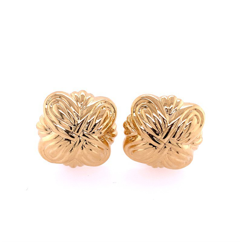 Perry's Estate Collection Domed Knot Clip On Earrings in Yellow Gold