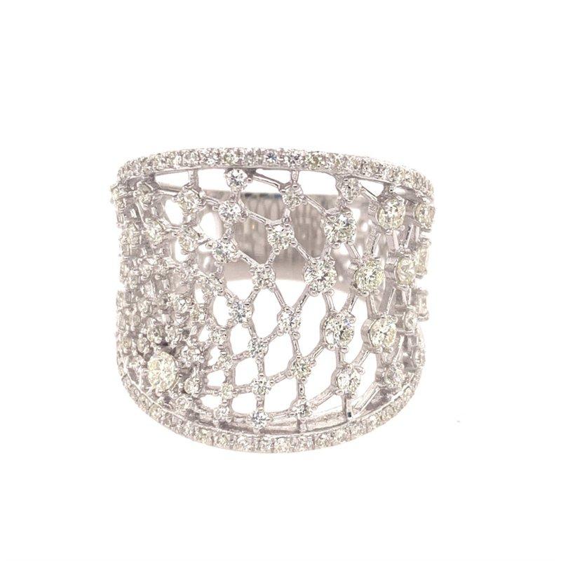Effy Wide Openwork Spider Web Diamond Ring in White Gold